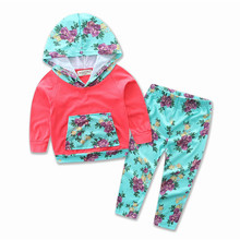 INS 2017 Hot baby Autumn new baby girl clothes Children Baby Girls Long Sleeve Hooded Tops Floral pants 2 pcs clothing set 16561