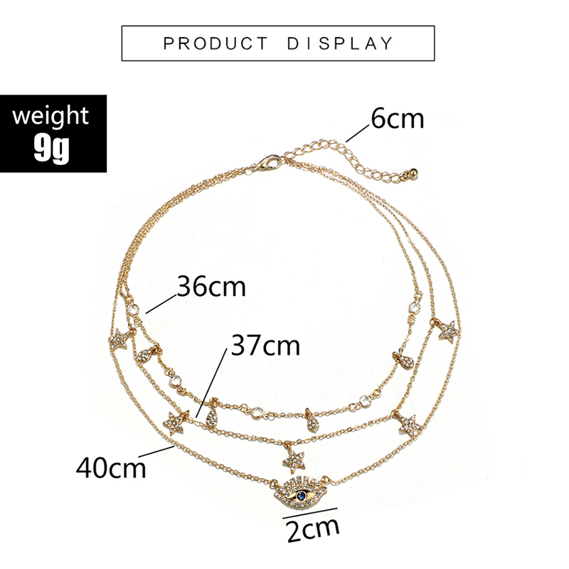 HuaTang Star Moon Pendant Necklace Boho Geometric Crystal Layered Necklaces for Women Girl Waterdrop Opal Collar Choker Jewelry 16