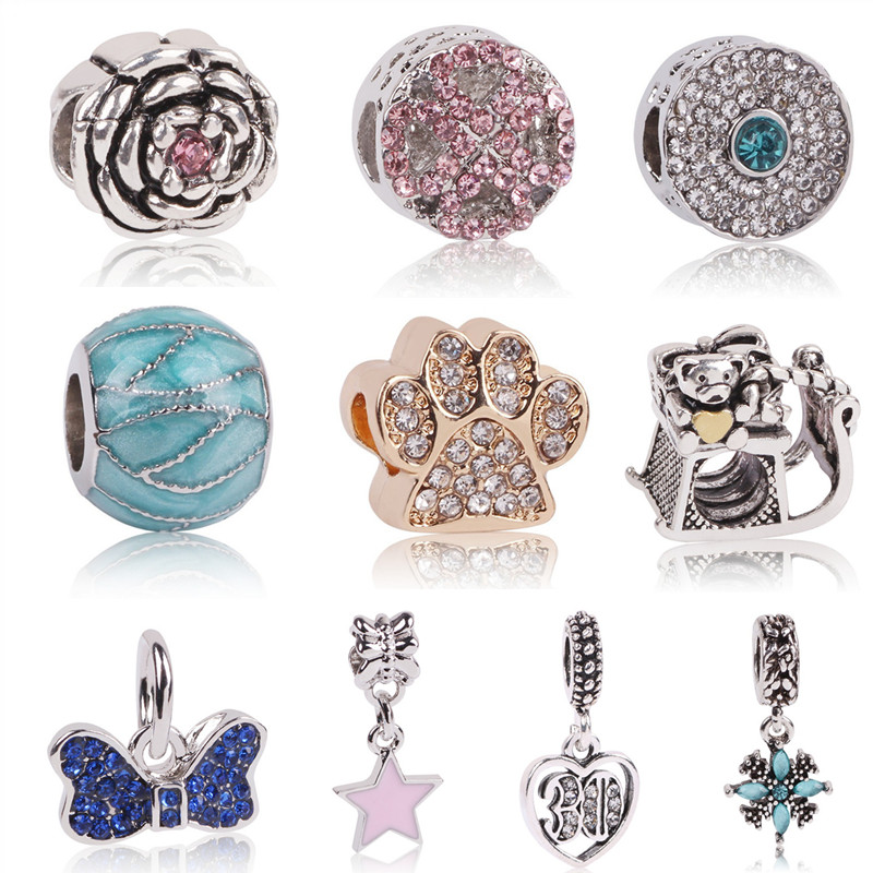 Ranqin 2018 Hot Sale Silver Color Charm Star Beads Fit Original Pandora Bracelets DIY Beads Jewelry Making Gifts 3 Colors