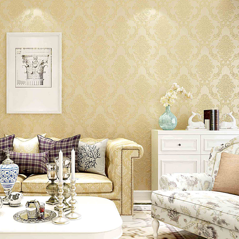 European Style Non-woven Wallpaper 3D Embossed Damascus Luxury Wall Paper Bedroom Living Room Background Wall Covering Tapety 3D