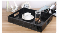wooden structure croco black  PU leather serving trays wooden tray hotel fruit snack desk food tray dessert tray PTP06