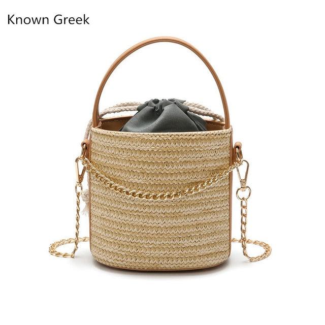 Casual Ladies Chain Crossbody Shoulder Bags Women  Straw Beach Bag Bohemian Designer Messenger Bag Travel Knitted Tote Bucket