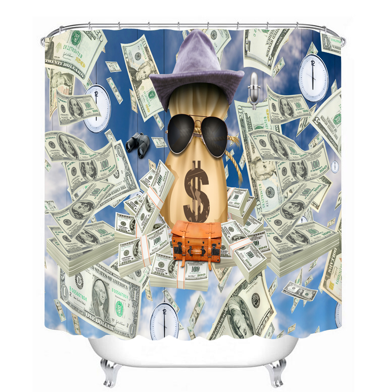 MYRU 3D Print Waterproof Dollars Shower Curtains Bath