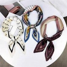 цена на Women Fashion Rhombus Pleated Scarf Stylish Print Kerchief Bandana Neck Hair Handkerchief Stylish Ladies Girls Gift 100cm Long
