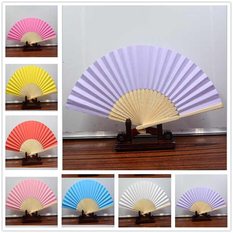 1pcs Chinese Style Colorful Blank Paper Hand Held Fan Folding Fan Party Wedding Decoration Children Painting DIY Crafts BBB0496