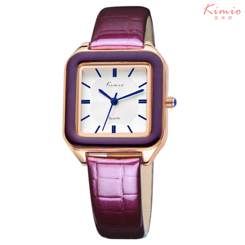 KIMIO Ladies Fashion Bright Color Square Dial Luxury Brand Women s Watches Leather Female Watches Women