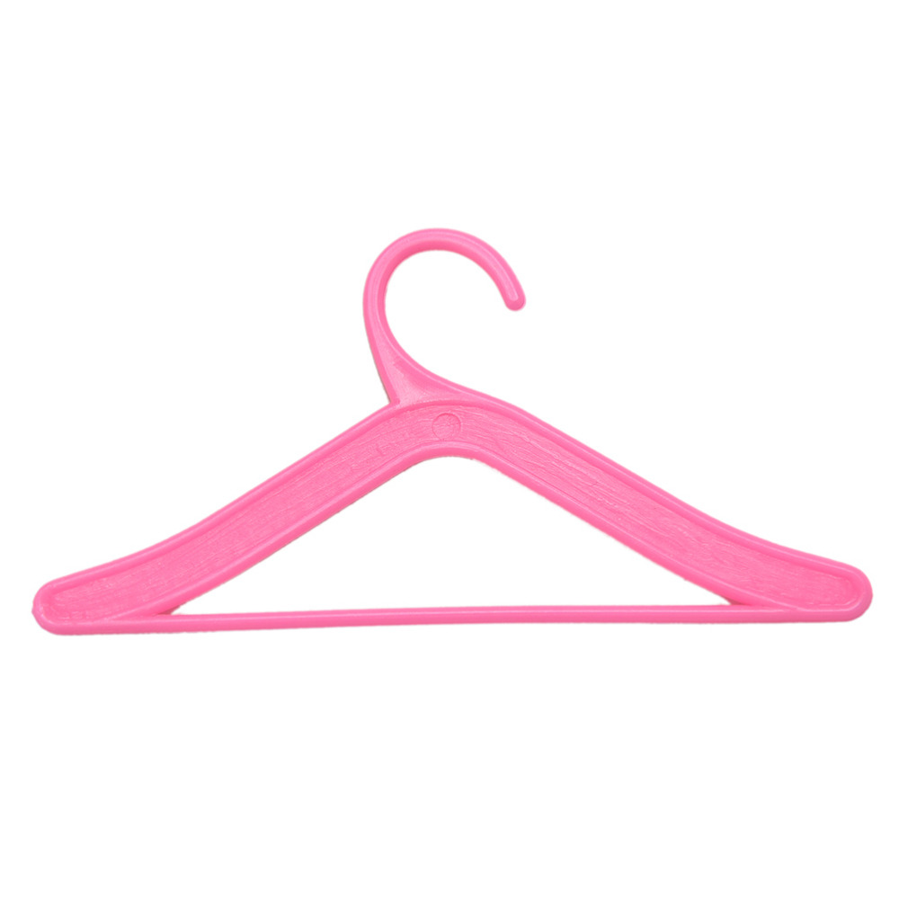 Plastic 50 Mix Pink Hanger Holder For Doll Clothes Dress Accesories Gift