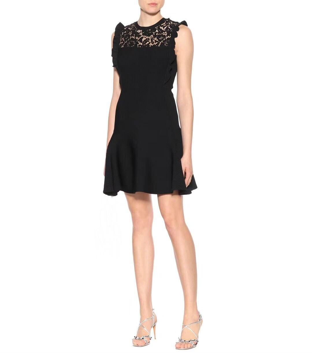 2018 New Arrival Summer Fashion O-Neck Sleeveless Hollow Lace Flounced Knit Black Women Dress Free Shipping