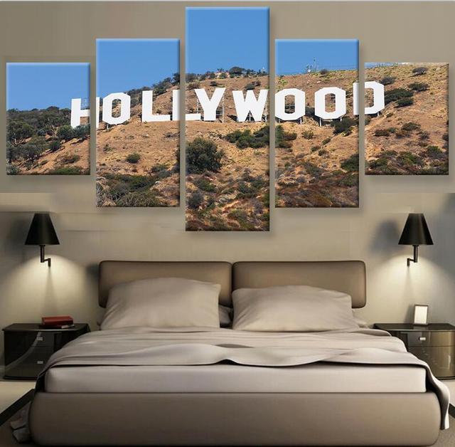 5 pannello di hollywood muro paesaggio immagine art for Piani di architettura domestica moderna