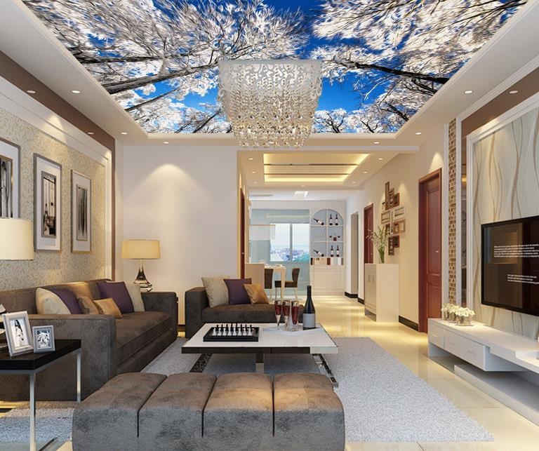 US $12 47 57% OFF|3D Sky Ceiling Wall papers Home Decor Customize 3d  Stereoscopic Ceiling Wallpaper For Living Room Wallpaper Printing-in  Wallpapers