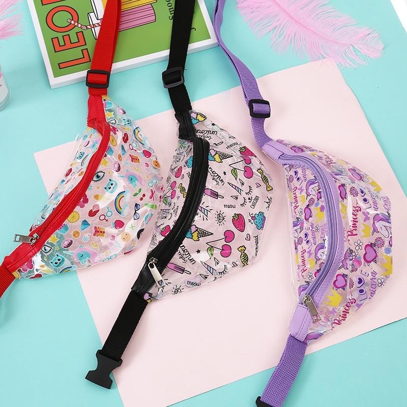 Unicorn Waterproof Fanny Waist Bag Transparent Waist Pack Women Shoulder Chest Zipper Bags Travel Sport Belt Bag