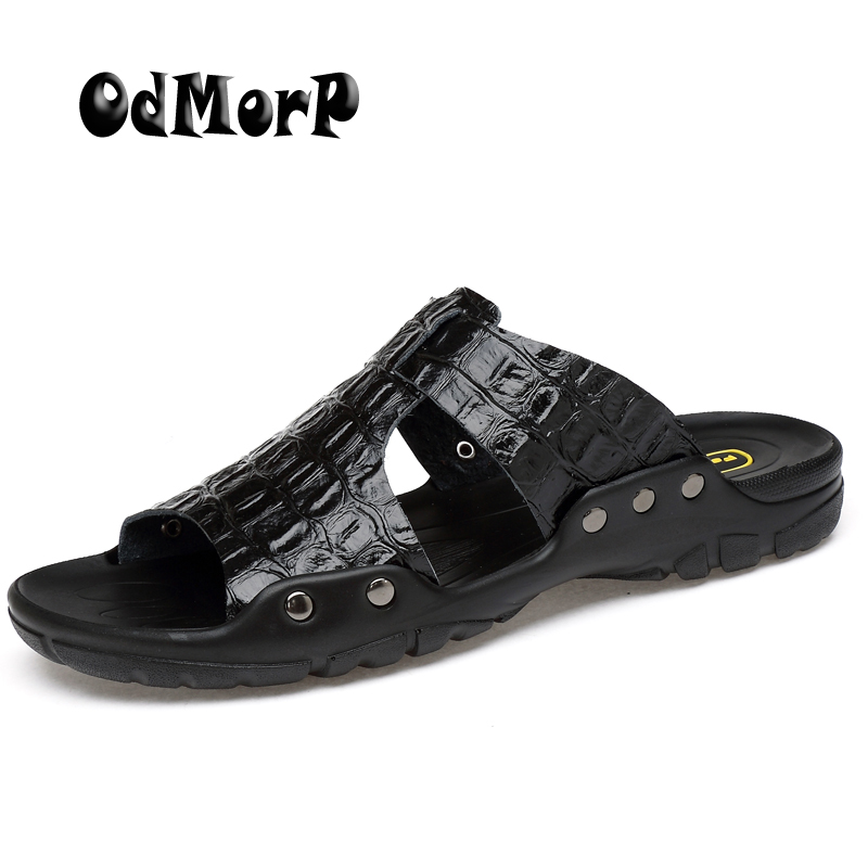 ODMORP Men Sandals New Fashion Summer Slippers Casual Beach Shoes Sandals Big Size Split Leather Sandals Men Flip Flops new 2018 big size 8 11 shoes women sandals 2017 shoes summer fashion slippers womens flip flops high quality casual flats