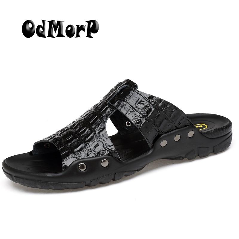 ODMORP Men Sandals New Fashion Summer Slippers Casual Beach Shoes Sandals Big Size Split Leather Sandals Men Flip Flops