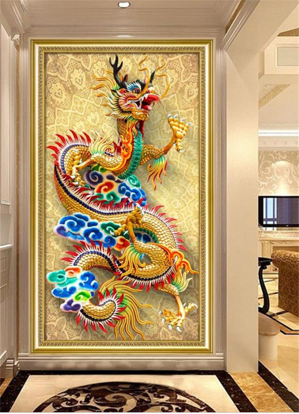 US $14 74 OFF 3d Wallpaper Kustom Foto Wallpaper Ruang Teras Warna Naga Ukiran 3d Lukisan Mural Latar Belakang Wallpaper Untuk Dinding