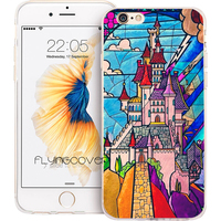 Coque Rose Beauty Beast Castle Soft TPU Silicone Phone Cover For IPhone 7 7Plus Case For