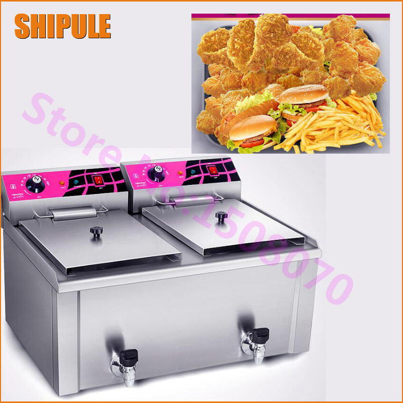 SHIPULE Fast Food Restaurant 30L Commercial Electric Chicken Deep Fryer Commercial Potato Chips Deep Fryer Frying Machine