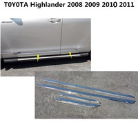 Car cover ABS chrome Side Door Body trim stick Strip Molding Stream bumper lamp panel frame 4pcs For Toyota Highlander 2008 2011