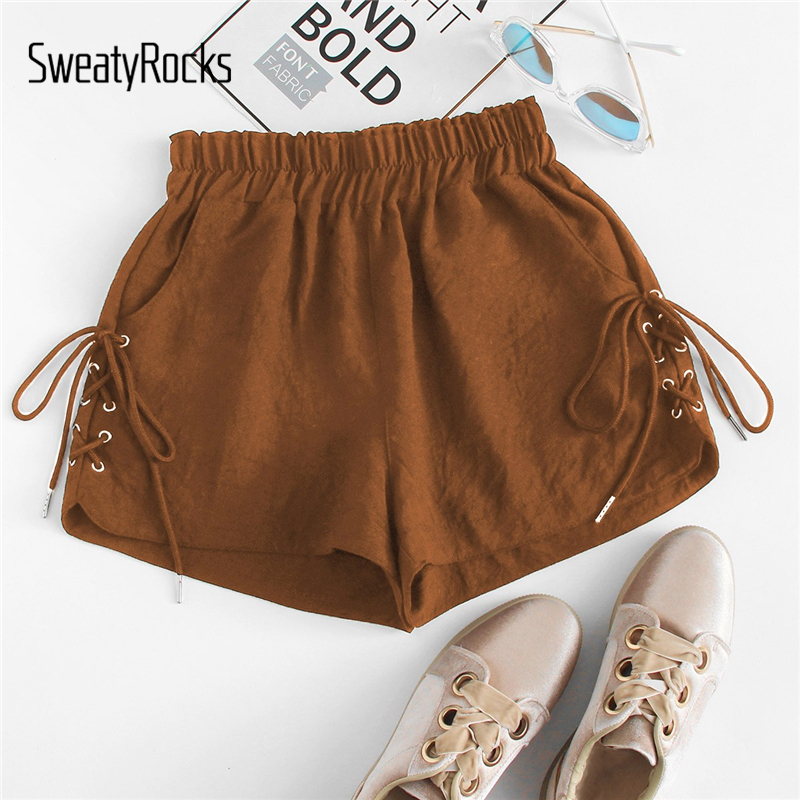 SweatyRocks Eyelet Lace Up Side   Shorts   Streetwear Brown Style   Shorts   2019 Fashion Summer Casual Elastic Waist Women   Shorts