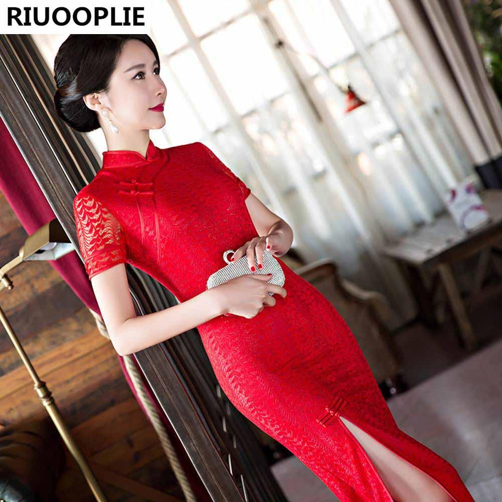 RIUOPLIE أزياء العروس فساتين السهرة فستان الزفاف مثير شيونغسام الأحمر
