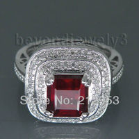 Jewelry Sets Vintage Princess 7mm Solid 14kt White Gold Natural Diamond Ruby Engagement Ring