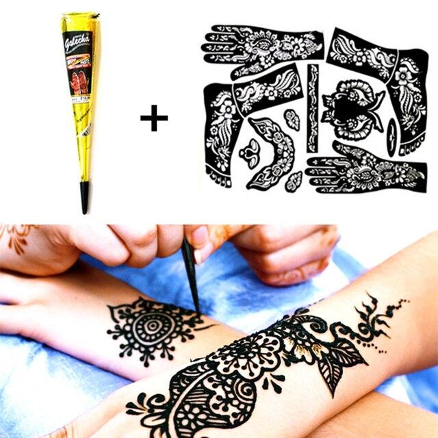 Nu-Менди Черная Хна Хна TATY + Полный Татуировки Трафарета Татуировки Вставьте Конус Временная Вспышка Татуировки Body Art Paint свадьба Продукт