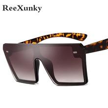 New 2019 Oversized Square Sunglasses Men Women Flat Top All-Fit Mirror Sun Glasses For Female Vintage Shades Visor Oculos