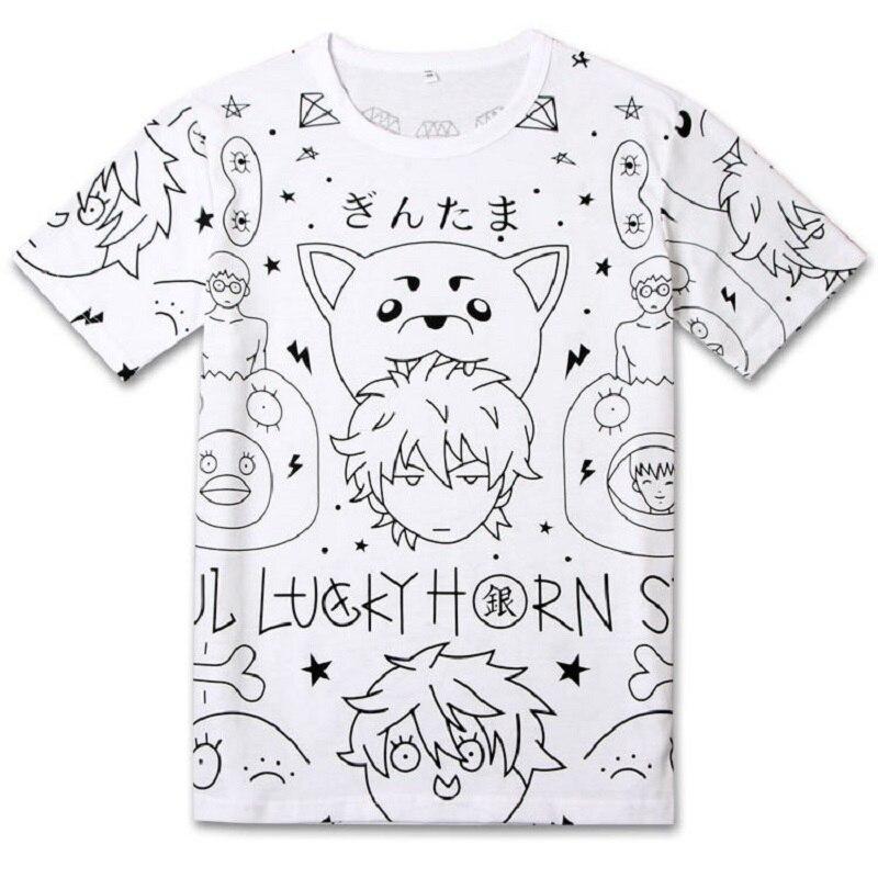 2018 fashion cute kawaii Gintama t shirt summer top unisex casual t-shirt Men Women cotton tshirt anime t-shirts boys tops tees