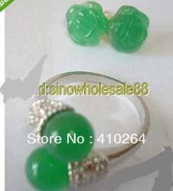 $ Wholesale_jewelry_wig $จัดส่งฟรีแฟชั่นชุดเครื่องประดับG Old P Latedสีเขียวหินต่างหูแหวน