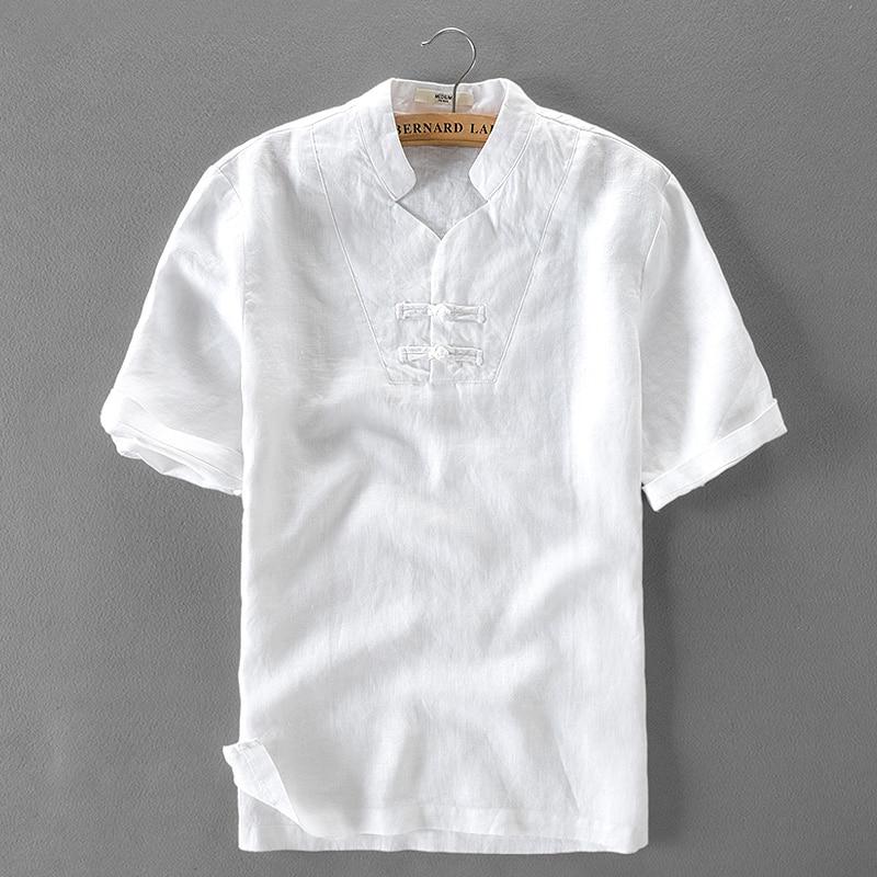 100% Linen white shirt men summer short sleeve solid shirt mens new design stand collar brand shirts male fashion chemise camisa