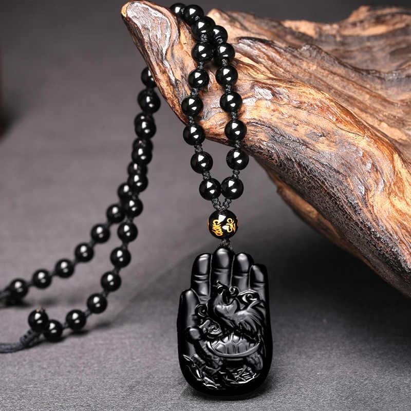 وان الحجر الأسود تميمة ثلاثة الكلاب Baotai الحصان قلادة زودياك الحصان التميمة مجوهرات الرجال النساء