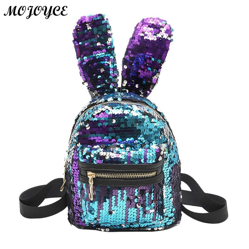 Mini Bling Sequins Backpack Newest Cute Big Rabbit Ears Double Shoulder Bag Women Mini Backpack Children Baby Girls Travel Bag