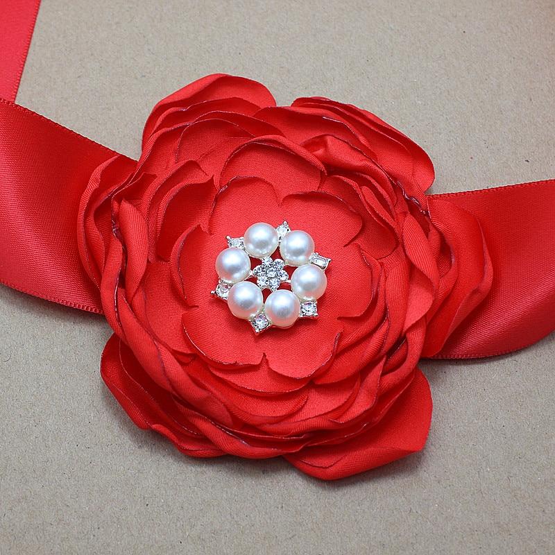 saten e kuq Lule brez dhe shirita kokrrizë me dasmën e perlave - Aksesorë veshjesh - Foto 4