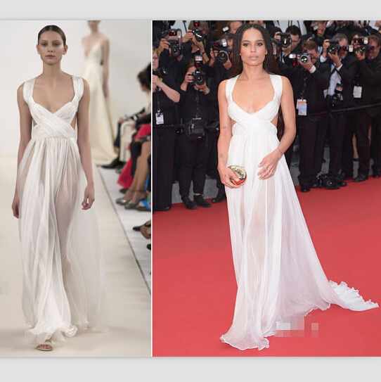 Zoe Kravitz Ivory Cutouts Gown 68th Annual Cannes Film