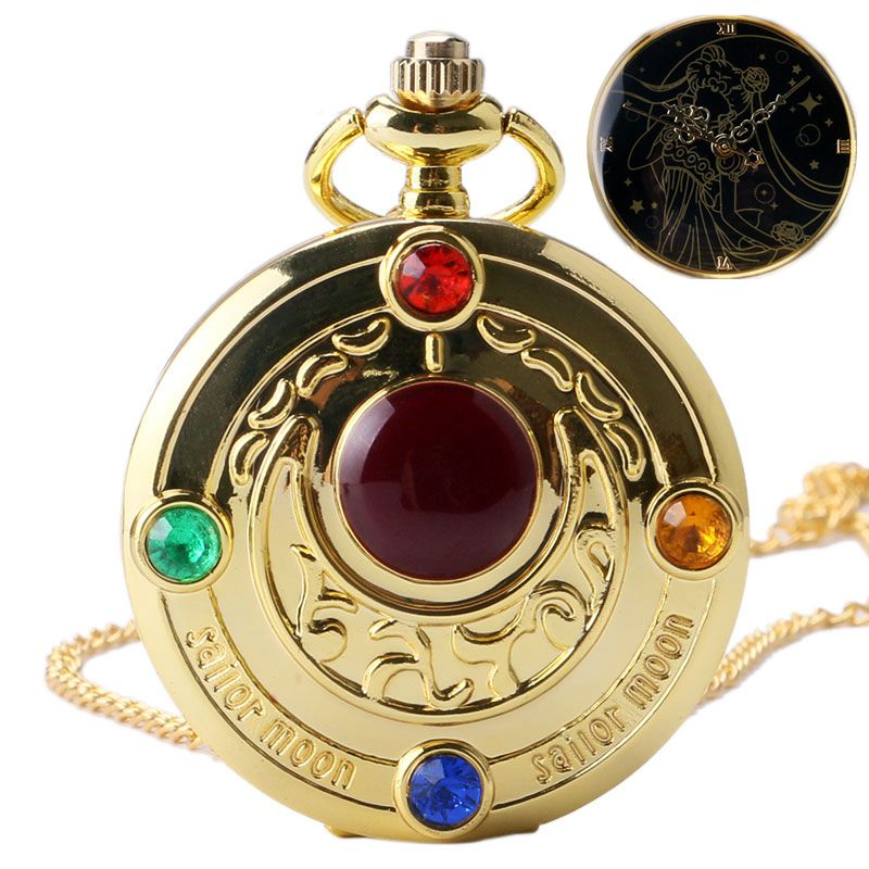 Golden Sailor Moon Theme Necklace Pendant Quartz Pocket Watch With Necklace Chain Girl Sailor Moon Fans Gifts Colorful Watches