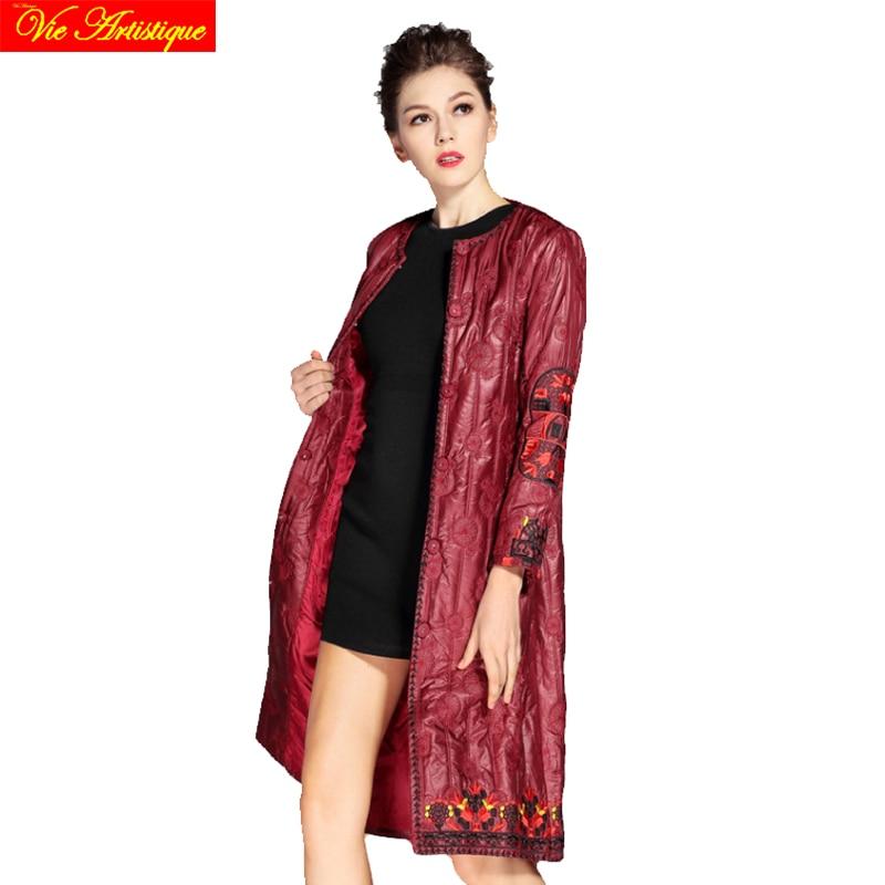 Embroidery floral winter jacket woman parka fem me female long coats jackets big size wine green black jazzevar miegofce 2018 VA