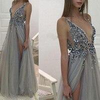 Халат longue V шеи бисером вечернее платье с блестками пикантные Разделение индивидуальный заказ вечерние платья длинный халат De Soiree линии Фор