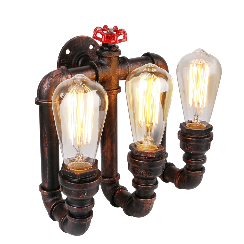 Vintage Water Pipe Wall Lights Personalized Decoration Lamps Loft Industrial Warehouse Fixtures Lighting + 3*E27 Edison Bulbs