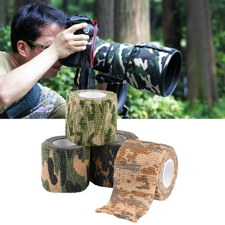 1pcs Self-adhesive Non-woven 5cmx4.5m Camouflage Wrap Rifle Hunting Shooting Cycling Tape Waterproof Camo Stealth Tape cycling bike bicycle handlebar tape belt wrap w bar plug yellow camouflage 2 pcs