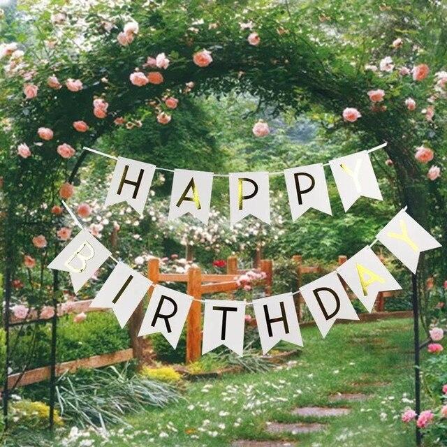 happy birthday garden 1 piece Glitter Happy Birthday Gold Letters Hanging Garlands  happy birthday garden