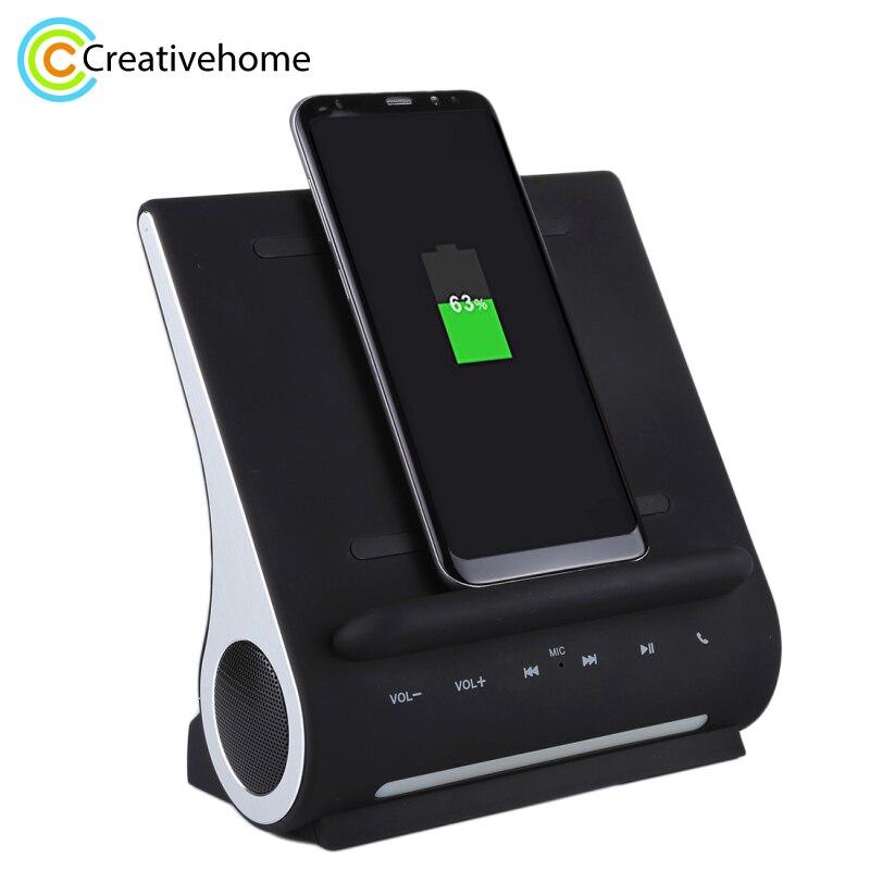 AZPEN D100 10 w Qi Caricatore Senza Fili di Ricarica Pad Bass Speaker HIFI Per Samsung HTC Android Carica Del Telefono Docking Station