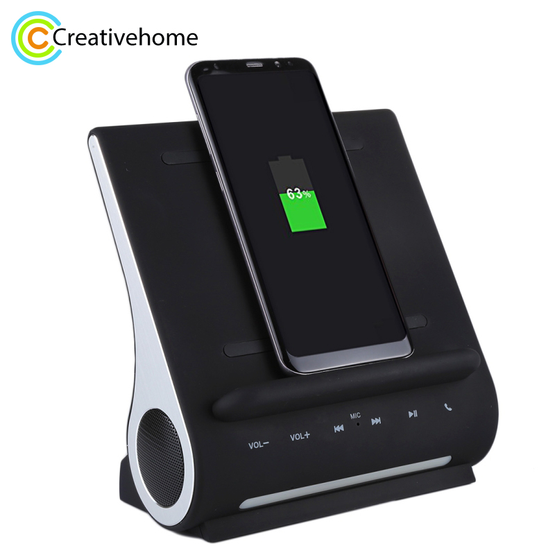 цена AZPEN D100 10W Qi Wireless Charger Charging Pad Bass Speaker HIFI For Samsung HTC Android Phone Charge Docking Station
