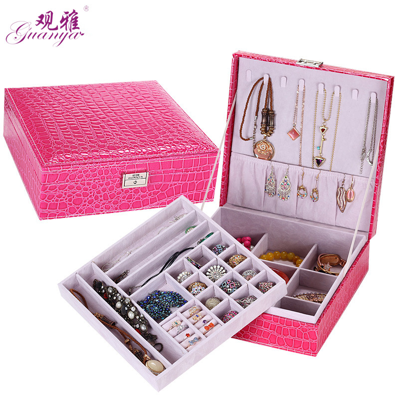 Best Selling Fashion Korea European Princess Crocodile Pattern High Quality Leather Jewelry Storage Box With Lock