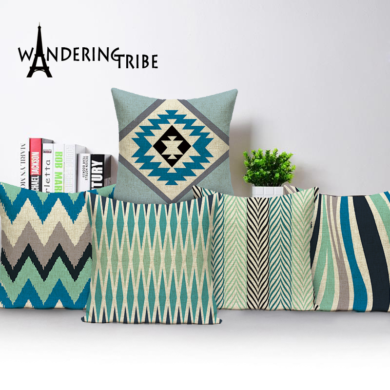 Nordic Cushion Cover Blue Pillows Home Decor Cushion Covers Custom Linen Throw Pillows Geometric Pillow Cover Outdoor Cushions