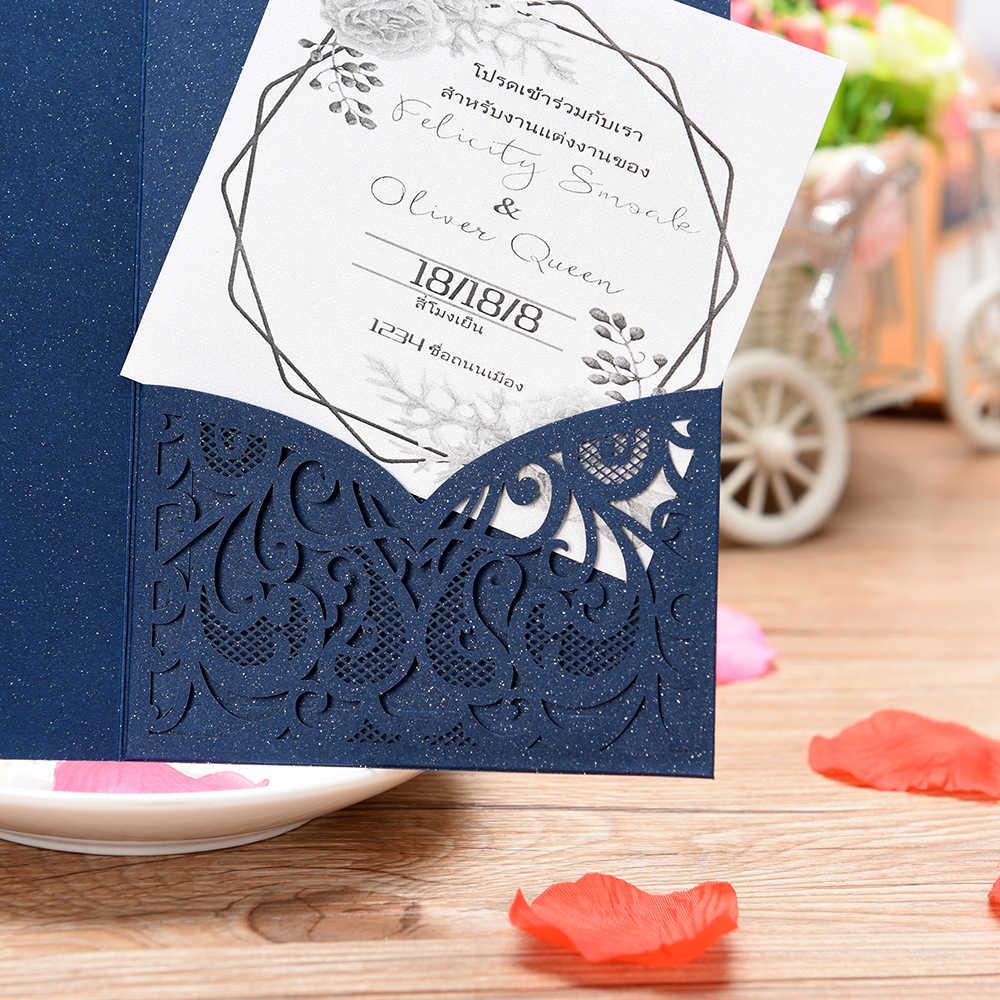 3 Pliegues Láser Corte Encaje Flor Patrón Invitaciones Tarjetas Para Cumpleaños Baby Shower Boda Ensayo Cena Invitaciones Cumpleaños