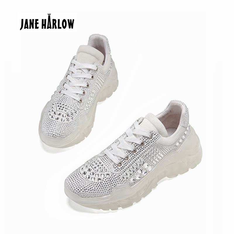 2019 Cool Casual Women Shoes Fashion Transparent Platform Shoes Sneakers Comfortable Shoe Woman Rhinestone Female Sneakers