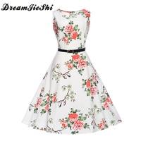 Dreamjieshi 2017 Summer Woman Vintage Empire Waist Evening Gown Dress Bird Flower Print Big Swing Vest