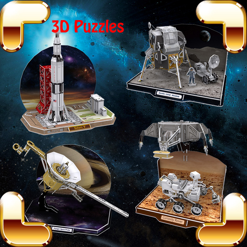 New Year Gift Appollo Spaceflight Apparatus 3D Puzzles DIY IQ Game Children Handmade House Decoration Toys Kids Education Tools