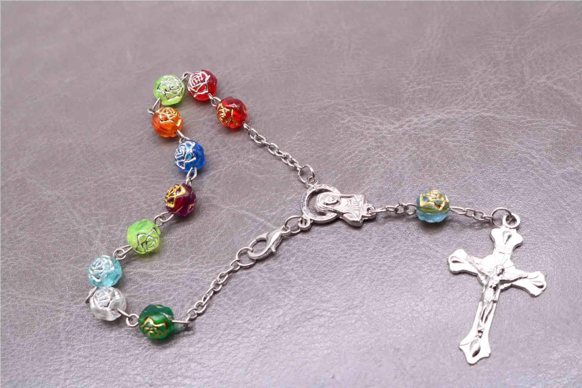 Religious 8MM6MM plastic rose gold rosary bracelet. Rose Virgin Mary Center prayer bracelet. Christ Jesus Cross Pendant