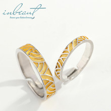 inbeaut Silver Wind Blow Wheat Couple Rings 925 You&Me Fall in Love Waves Implied Ring for Women Wedding Jewelry Lovers