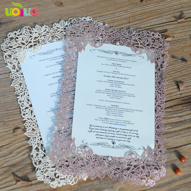 Diy Customzied 50pcs Inc34 Laser Cut Wedding Invitations Card Rose Glitter Paper Gold Menu